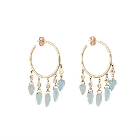 5 DIAMOND AQUAMARINE LEAF SHAKER HOOPS