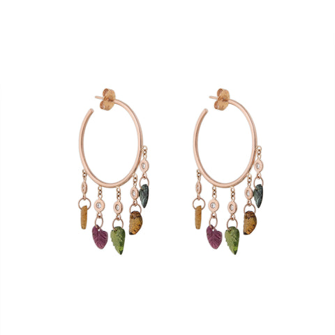 5 DIAMOND TOURMALINE LEAF SHAKER HOOPS