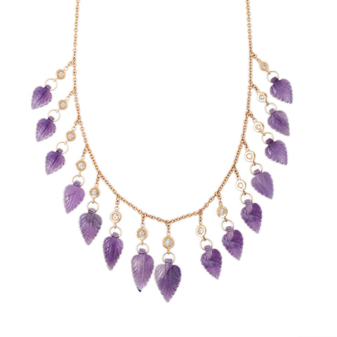 15 DIAMOND AMETHYST LEAF SHAKER NECKLACE