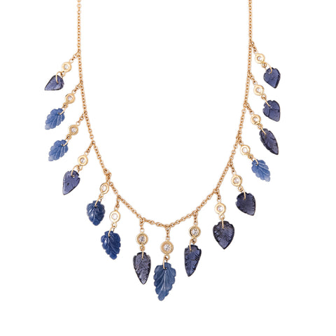 15 DIAMOND IOLITE LEAF SHAKER NECKLACE