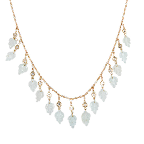 15 DIAMOND AQUAMARINE LEAF SHAKER NECKLACE
