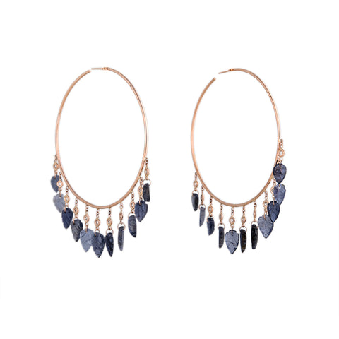 11 DIAMOND IOLITE LEAF SHAKER HOOPS