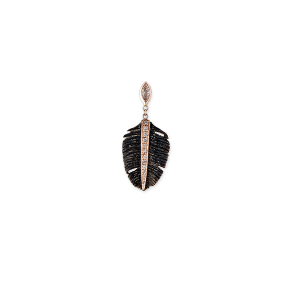 MARQUISE DIAMOND SMALL PAVE BLACK FEATHER STUD