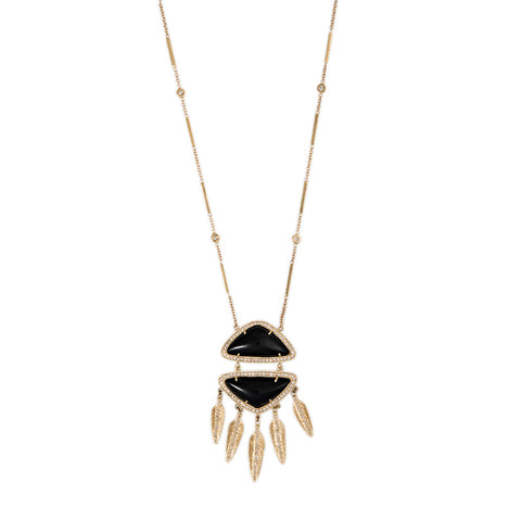 PAVE DOUBLE TRIANGLE ONYX FEATHER SHAKER NECKLACE