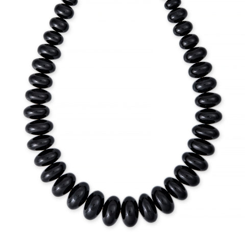 GRADUATED SMOOTH ONYX BEADED NECKLACE