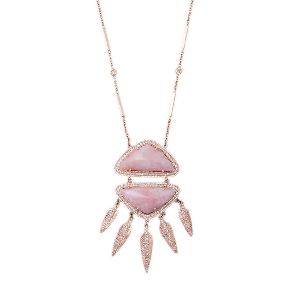 PAVE DOUBLE TRIANGLE PINK OPAL FEATHER SHAKER NECKLACE