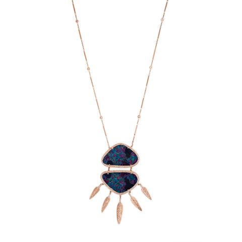 XL PAVE DOUBLE TRIANGLE OPAL FEATHER SHAKER NECKLACE