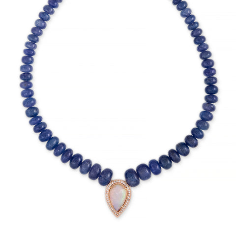 PAVE OPAL TEARDROP CENTER TANZANITE BEADED NECKLACE