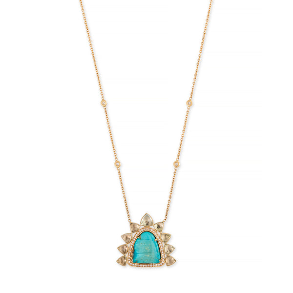 PAVE TURQUOISE + AQUAMARINE TRILLION NECKLACE