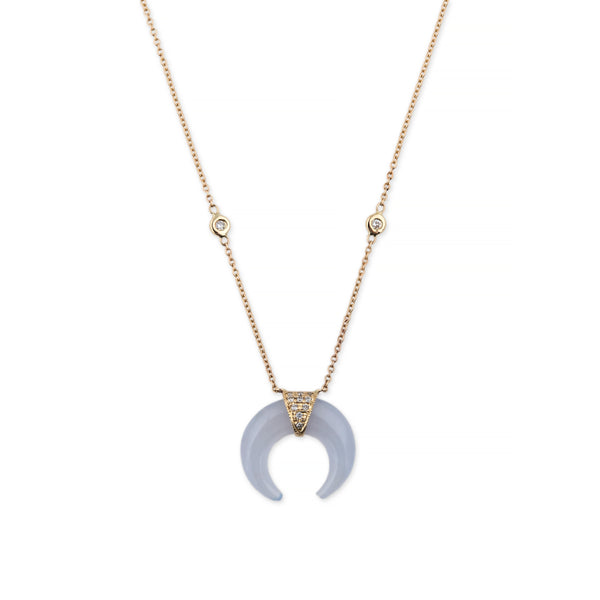 MINI CHALCEDONY DOUBLE HORN NECKLACE