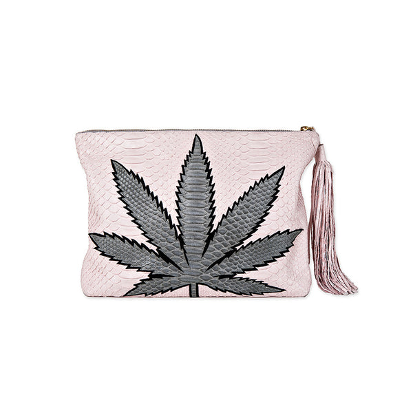 SWEET LEAF CLUTCH - GREY + BABY PINK