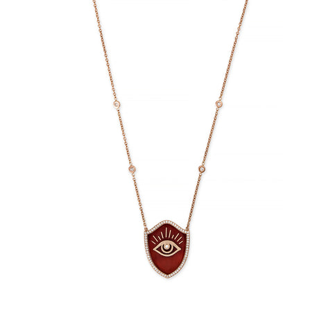 RED AGATE INLAY EYE SHIELD NECKLACE