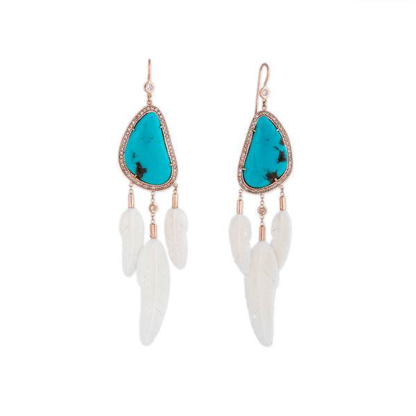 PAVE TURQUOISE + 3 WHITE FEATHER EARRINGS