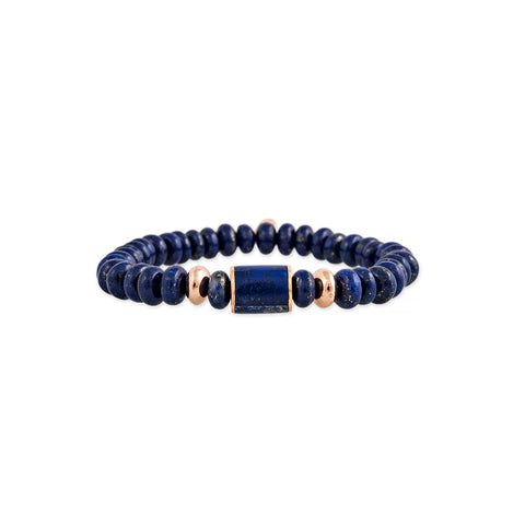 LAPIS INLAY TUBE BEAD + GOLD AND LAPIS BEADED STRETCH BRACELET