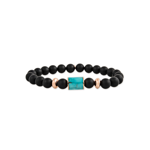 TURQUOISE INLAY TUBE BEAD + GOLD AND HEMATITE BEADED STRETCH BRACELET
