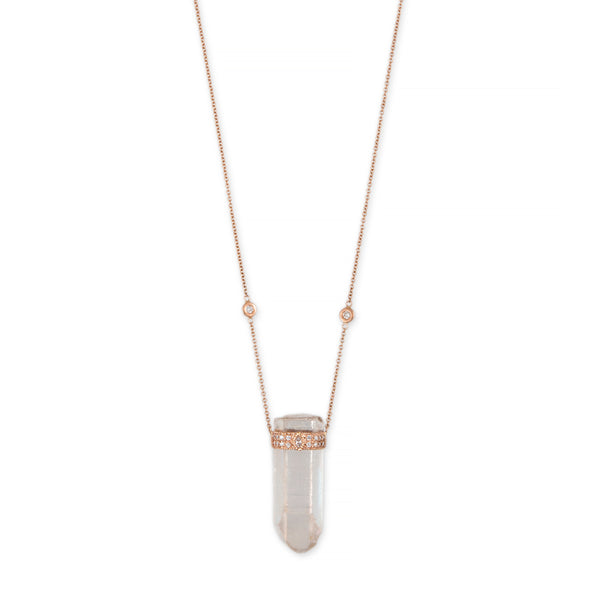 RAINBOW AURA QUARTZ + MARQUISE DIAMOND PAVE CAP CRYSTAL NECKLACE