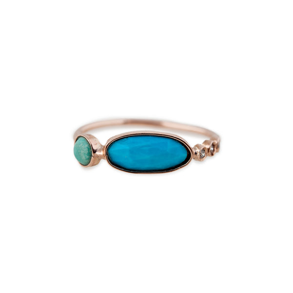 3 DIAMOND ASSORTED TURQUOISE RING