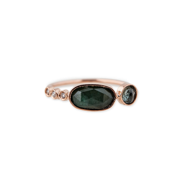 3 DIAMOND ASSORTED GREEN TOURMALINE RING