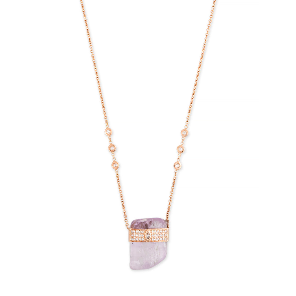 3 ROW PAVE MARQUISE CENTER CAP + KUNZITE CRYSTAL NECKLACE