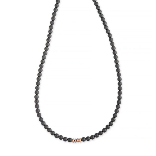4 GOLD BEAD + GREY HEMATITE BEADED NECKLACE
