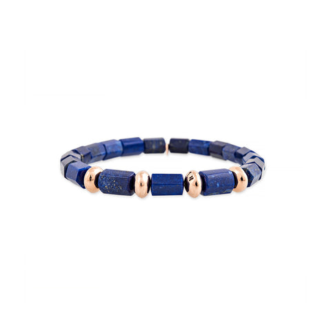 4 SPACED OUT GOLD BEADS + LAPIS TUBE BEADED STRETCH BRACELET