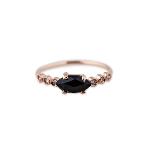 6 DIAMOND ONYX MARQUISE RING