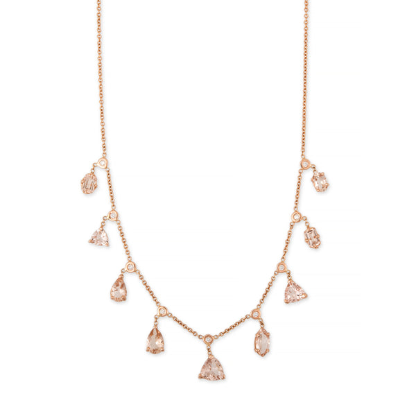 DIAMOND MULTI SHAPE MORGANITE SHAKER NECKLACE