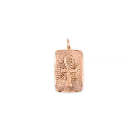 ANKH + STRENGTH RECTANGLE TAG CHARM