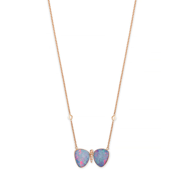 SMALL AUSTRALIAN OPAL PAVE CENTER BUTTERFLY NECKLACE