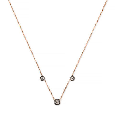 BLACK RHODIUM 3 GRADUATED SOPHIA DIAMOND NECKLACE