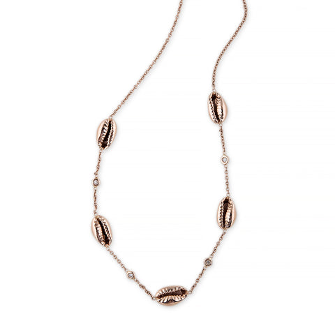 5 COWRIE SHELL DIAMOND CHOKER NECKLACE