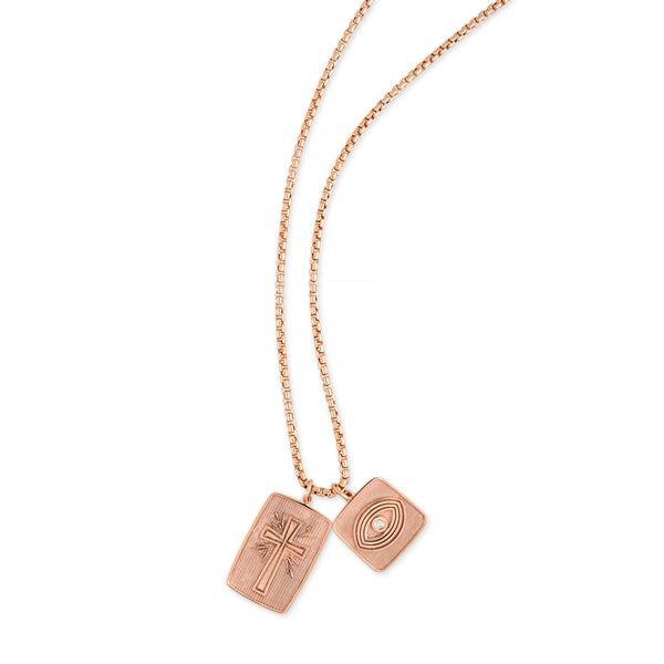 CROSS + FAITH RECTANGLE TAG CHARM