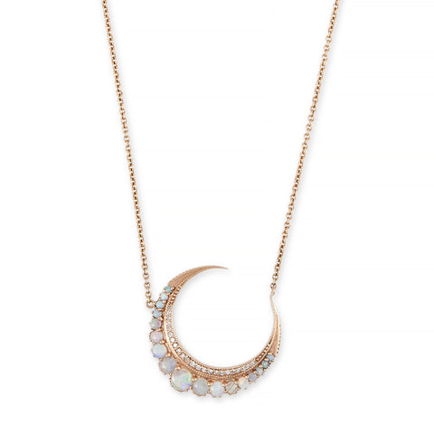 LARGE GRADUATED OPAL CRESCENT MOON NECKLACE