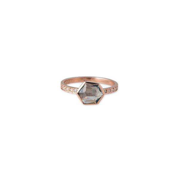 PAVE DIAMOND HEXAGON SPINEL RING