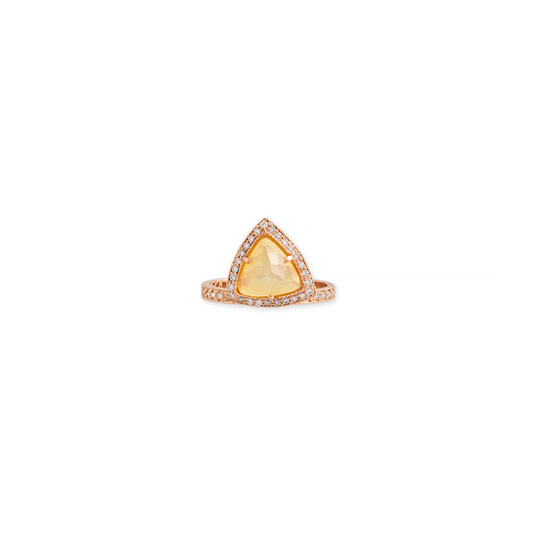 LARGE OPAL PAVE DIAMOND TRIANGLE RING