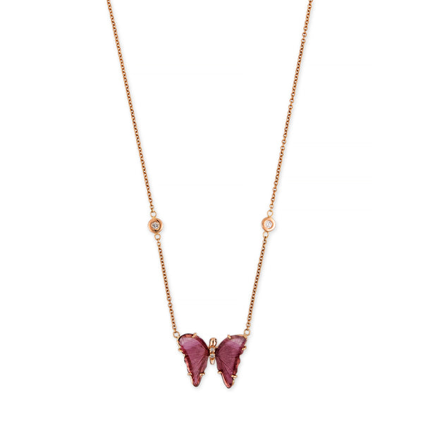 MINI PINK TOURMALINE PAVE CENTER BUTTERFLY NECKLACE
