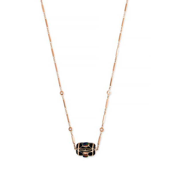 ONYX + OPAL INLAY BEAD SMOOTH BAR NECKLACE