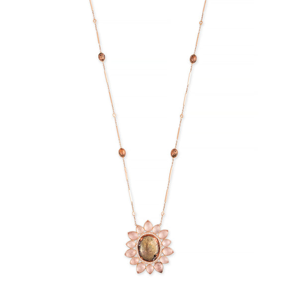 COPPER + MOONSTONE BLOSSOM SMOOTH BAR DIAMOND NECKLACE