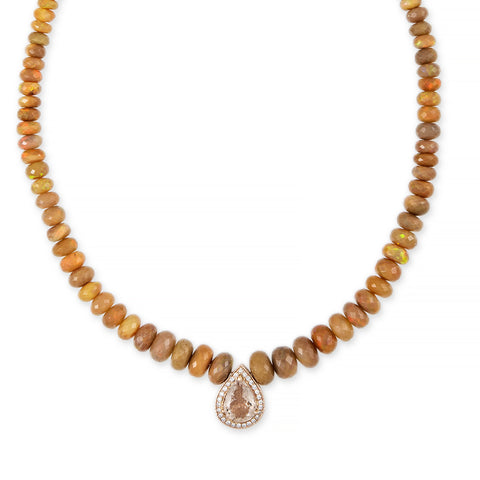PAVE MORGANITE TEARDROP CENTER ETHIOPIAN OPAL BEADED NECKLACE