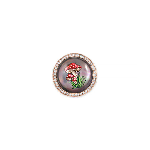 PAVE HAND PAINTED RED MUSHROOM ON BLACK MOTHER OF PEARL SIGNET RING