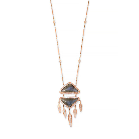 LABRADORITE PAVE DIAMOND FEATHER DREAMCATCHER NECKLACE