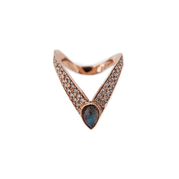 LABRADORITE TEARDROP LARGE V RING