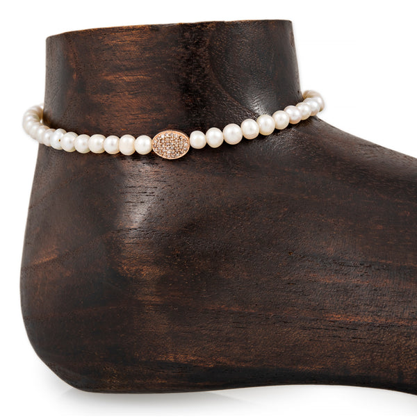 PAVE OVAL BEAD PEARL BEADED ANKLET