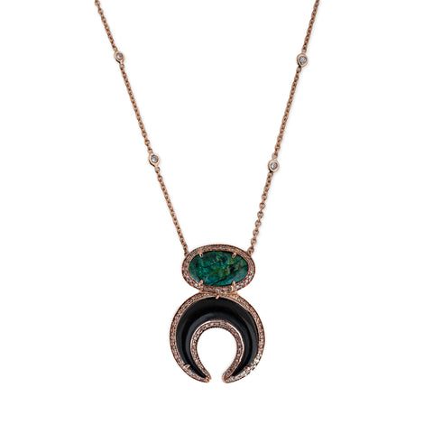 TURQUOISE + BLACK DOUBLE HORN NECKLACE