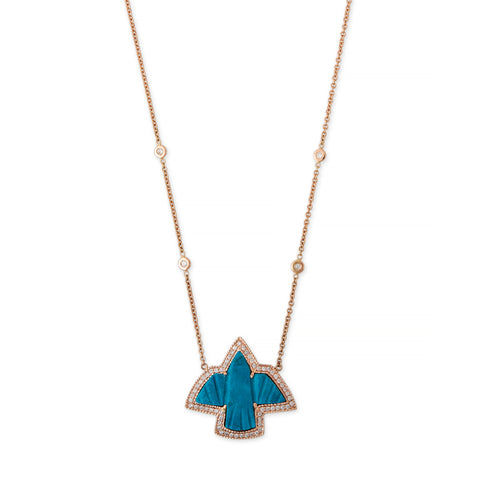 PAVE SMALL TURQUOISE THUNDERBIRD NECKLACE