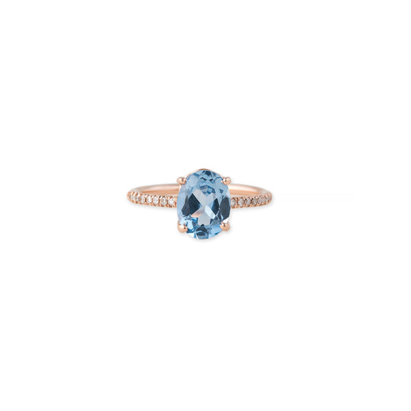 FACETED OVAL BLUE TOPAZ PAVE VINTAGE BAND RING