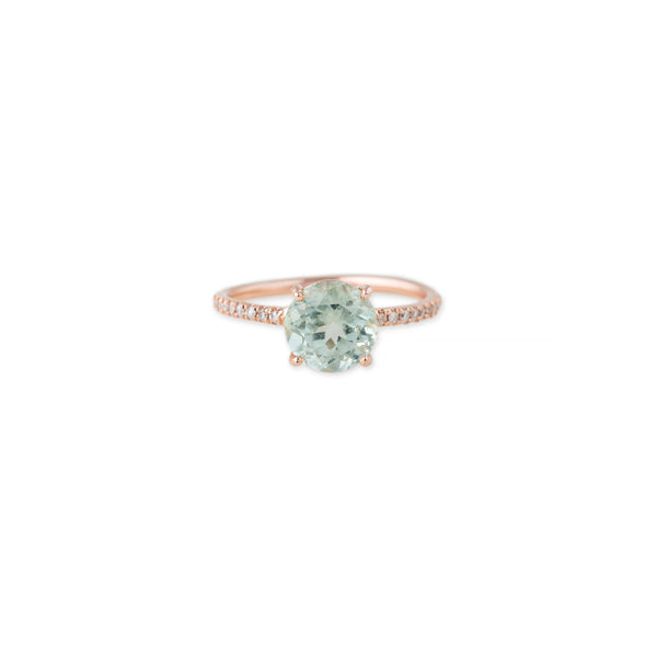 FACETED GREEN AMETHYST PAVE VINTAGE BAND RING