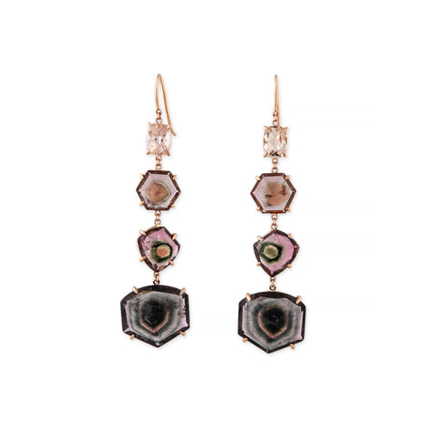 MORGANITE + WATERMELON TOURMALINE SLICE EARRINGS