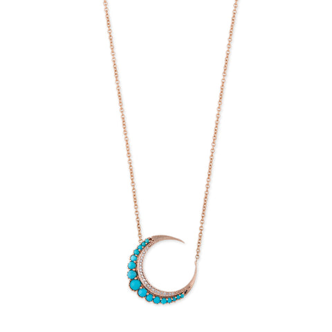 SMALL TURQUOISE CRESCENT MOON NECKLACE