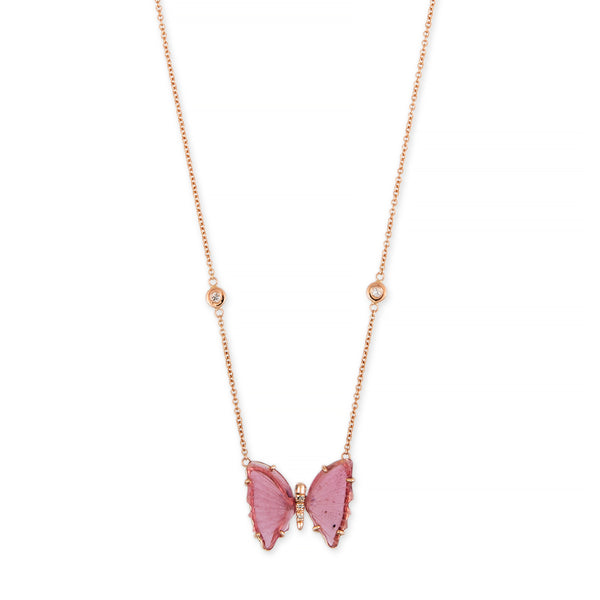 SMALL PINK TOURMALINE PAVE CENTER BUTTERFLY NECKLACE